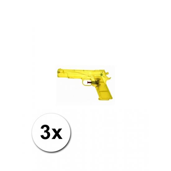 Transparante waterpistolen geel 3 st