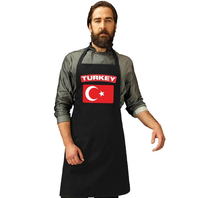Turkije vlag barbecueschort/ keukenschort zwart volwassenen