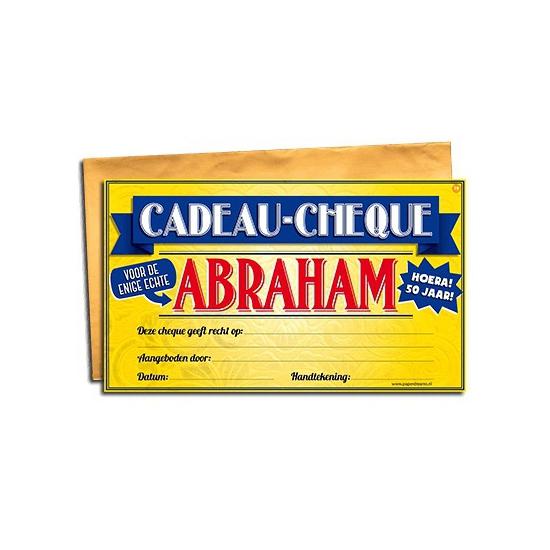 Voor de Abraham cadeau cheque Cadeau /feestartikelen/feestartikelen-algemeen/kado-cheques