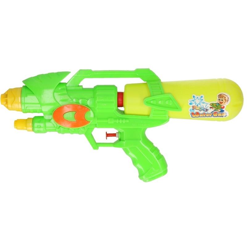 Voordelig waterpistool groen/geel 34 cm