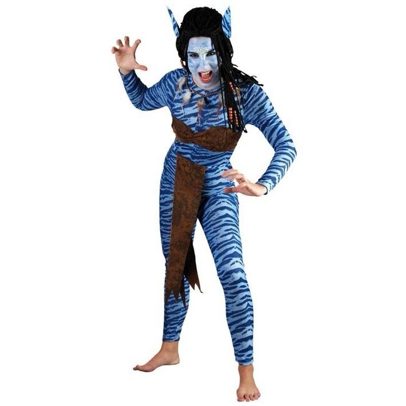 Vrouwen carnavalskleding Blauwe jungle strijdster