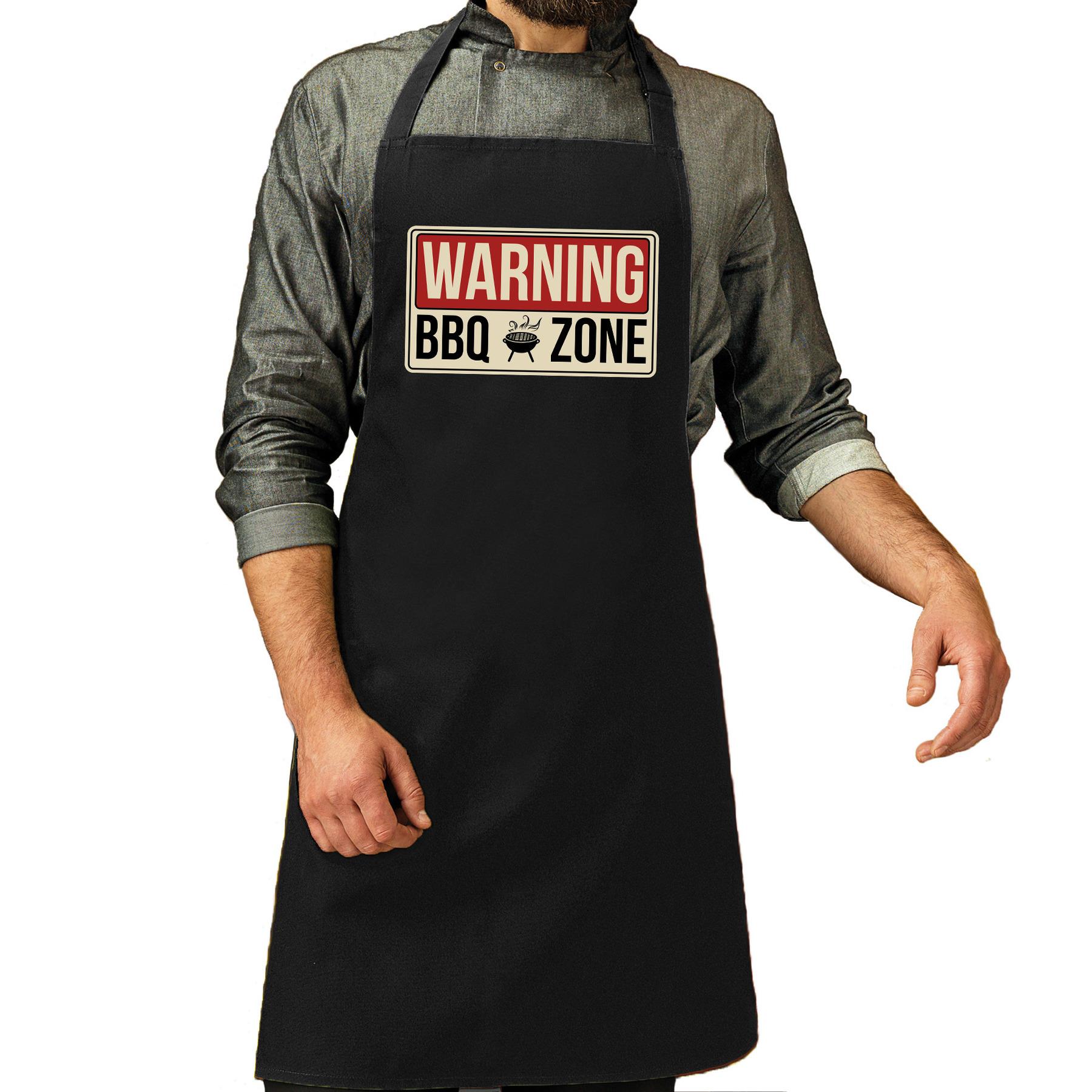 Warning bbq zone bbq schort - keukenschort zwart heren