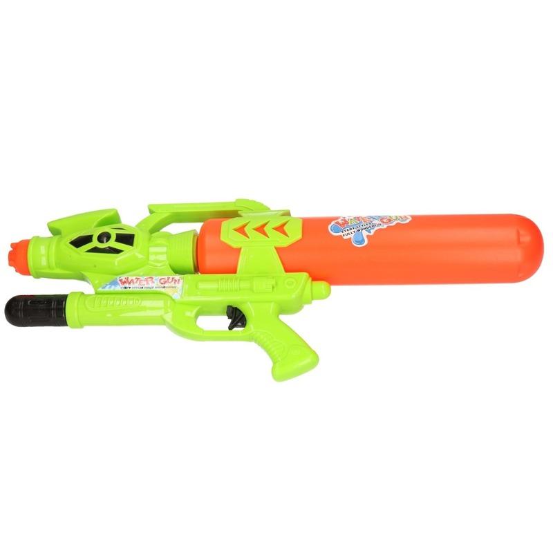 Afbeelding: Waterpistool met pomp groen/rood 56 cm