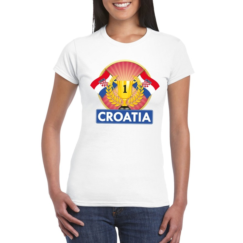 Wit Kroatie supporter kampioen shirt dames