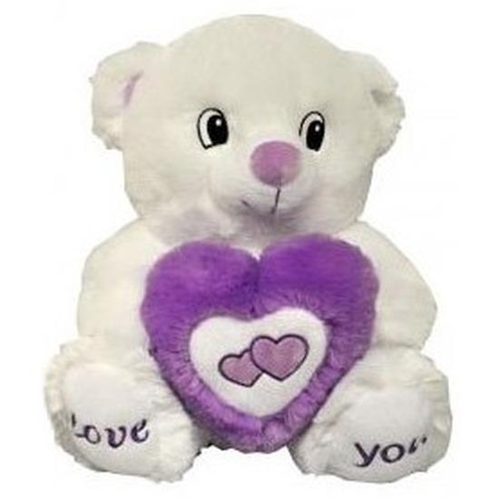 Wit/paarse beer met hart knuffel Love You 31 cm
