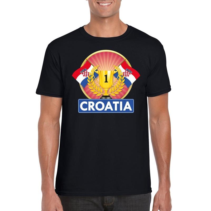 Zwart Kroatie supporter kampioen shirt heren